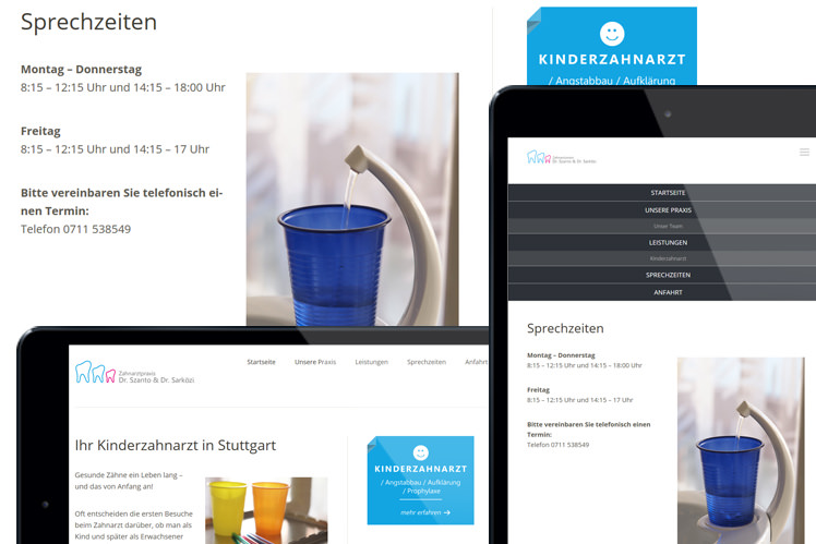 Praxiswebsites - responsive Design im Tablet